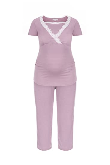 Herzmutter Short Nursing-Maternity Pajamas for Pregnancy- Lactation with  Lace or Stripes 021805c42
