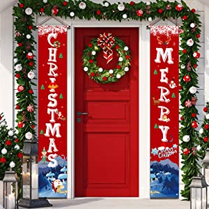 "YUFOL Christmas Decorations for Home Merry Christmas Banner,Hanging Christmas Door Decorations Decor Porch Sign for Front Door Welcome Christmas Banners Xmas Decor Flags-Large Size 12""×71"" (Red)"