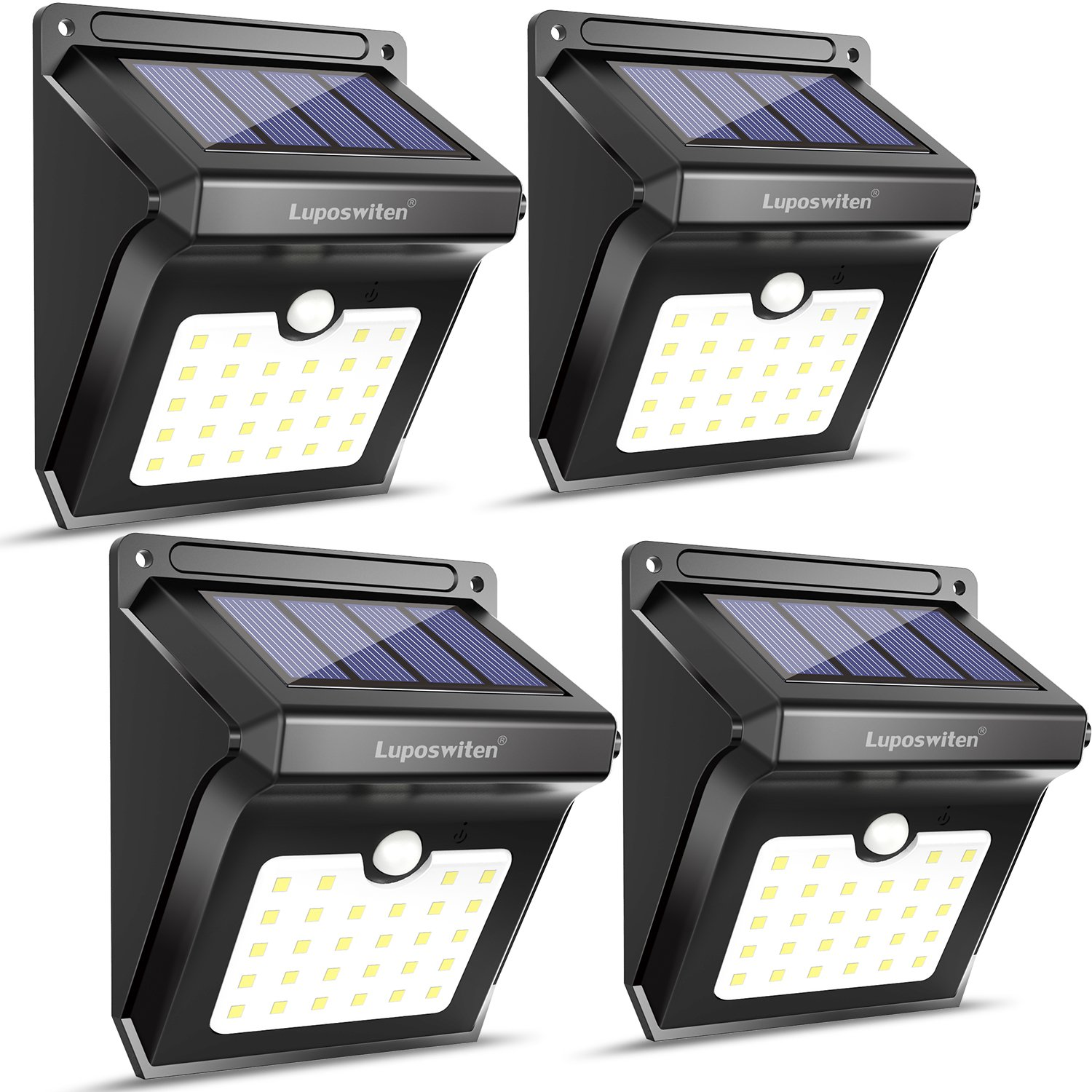 28 LEDs Solar Lights Outdoor, Luposwiten Solar Motion Sensor Lights Wireless Security Lights, 400 Lumen Waterproof Solar Powered Lights for Steps Yard Garage Porch Patio(4-Pack)