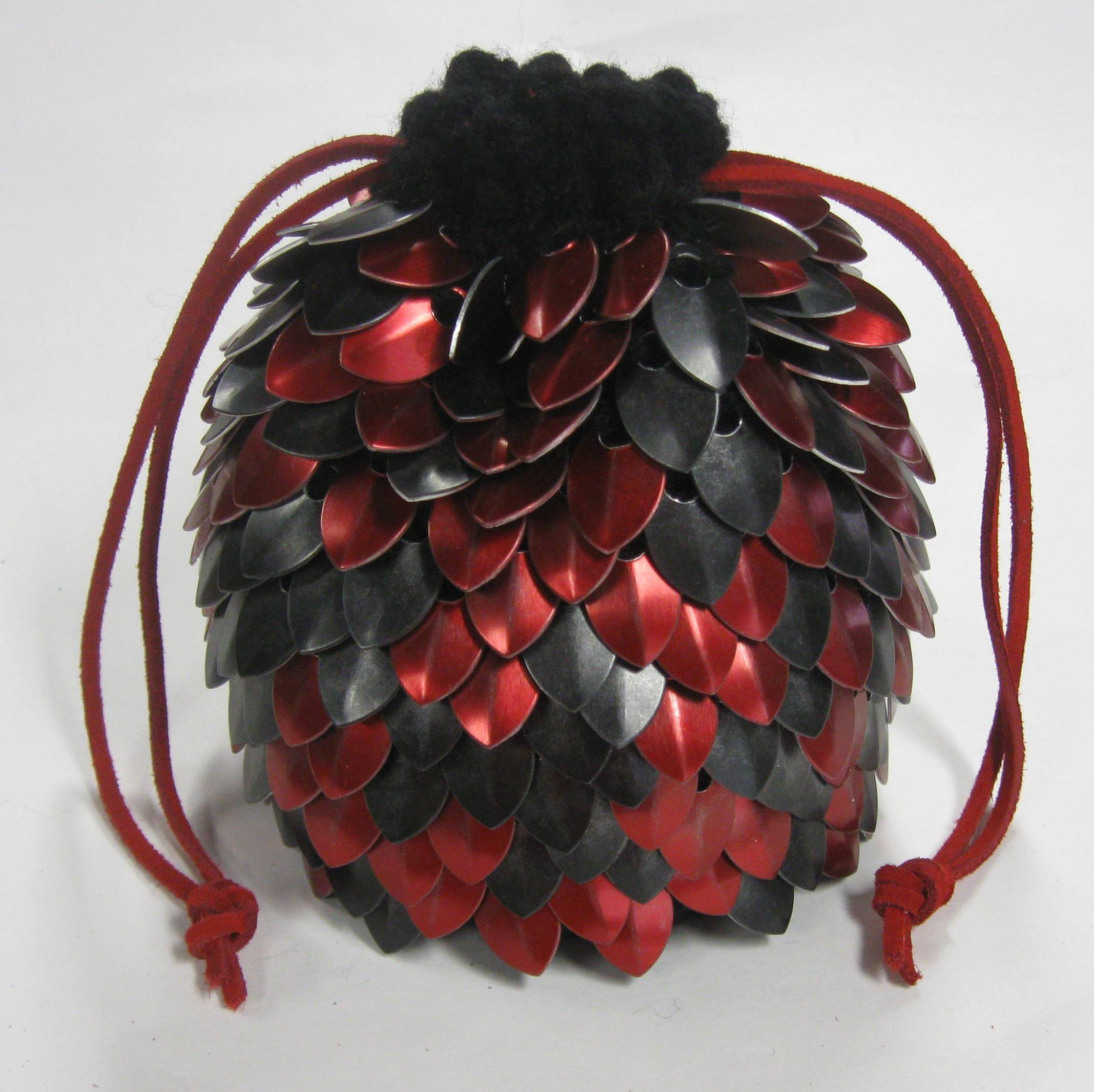 Knitted Dragonhide Dice Bag of Holding - Red and Black Random Extra Large holds over 100 dice by Crystal's Idyll
