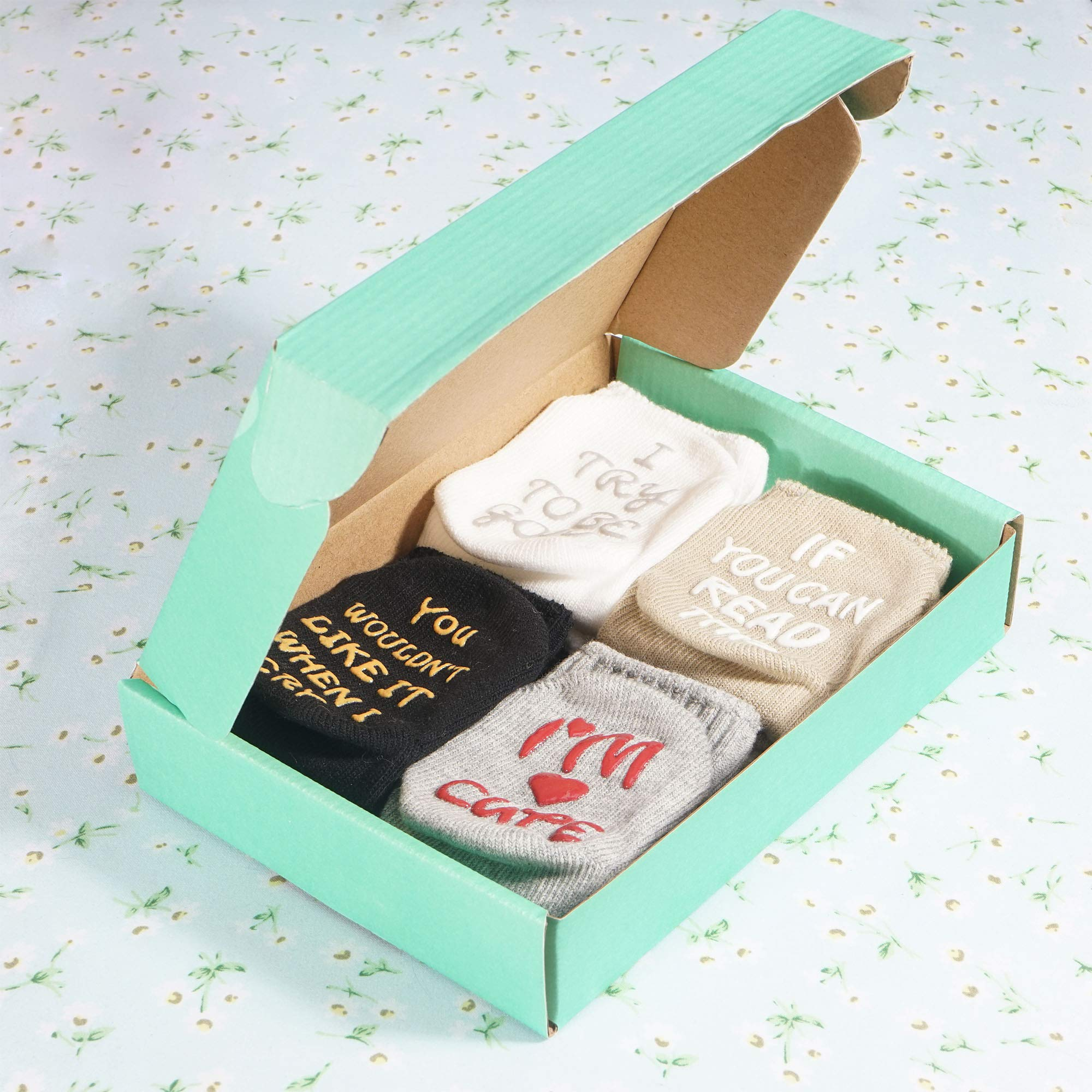 CozyWay Baby Socks Unique Baby Shower Gifts Newborn Present 4 Pairs Anti-skid Quote Funny Socks 0-12 Months