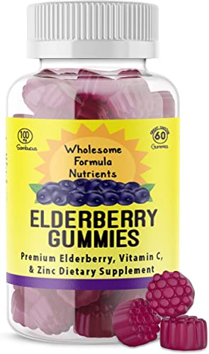 100 Natural Elderberry Gummies with Vitamin C and Zinc Low Sugar, Vegan, Gluten Free 60 Count Gummies 100 mg Elderberry 90mg Vitamin C 7.5 mg Zinc Supports Immune System Health