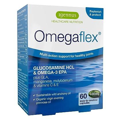 Glucosamina Omegaflex biodisponible, aceite de pescado salvaje y aceite de onagra orgánico más manganeso,