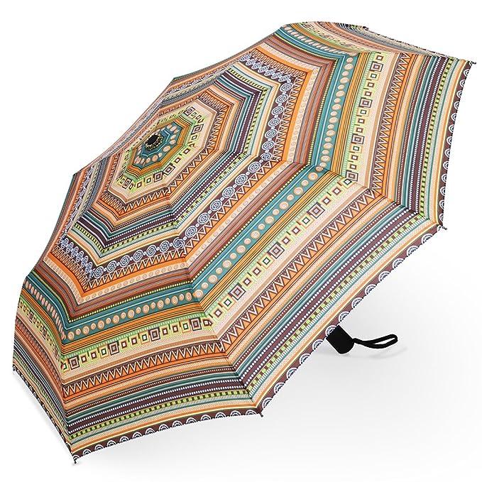 PLEMO Paraguas de Viaje Plegable Automático Estilo Bohemio