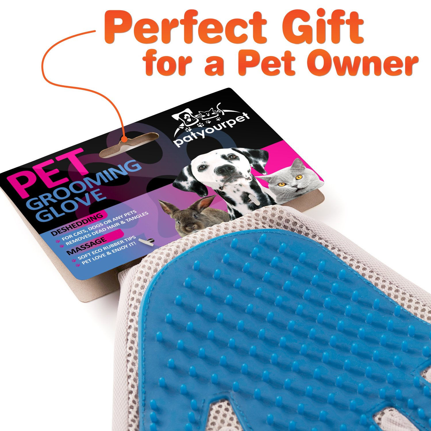 Pet Grooming Glove - Enhanced Five Finger Design - for Cats, Dogs & Horses - Long & Short Fur - Gentle De-Shedding Brush - Your Pet Will Love It (Right) by Pat Your Pet (Image #2)