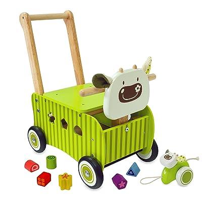 El vaca verde correpasillos de madera para bebes - IM87600: Juguetes y juegos