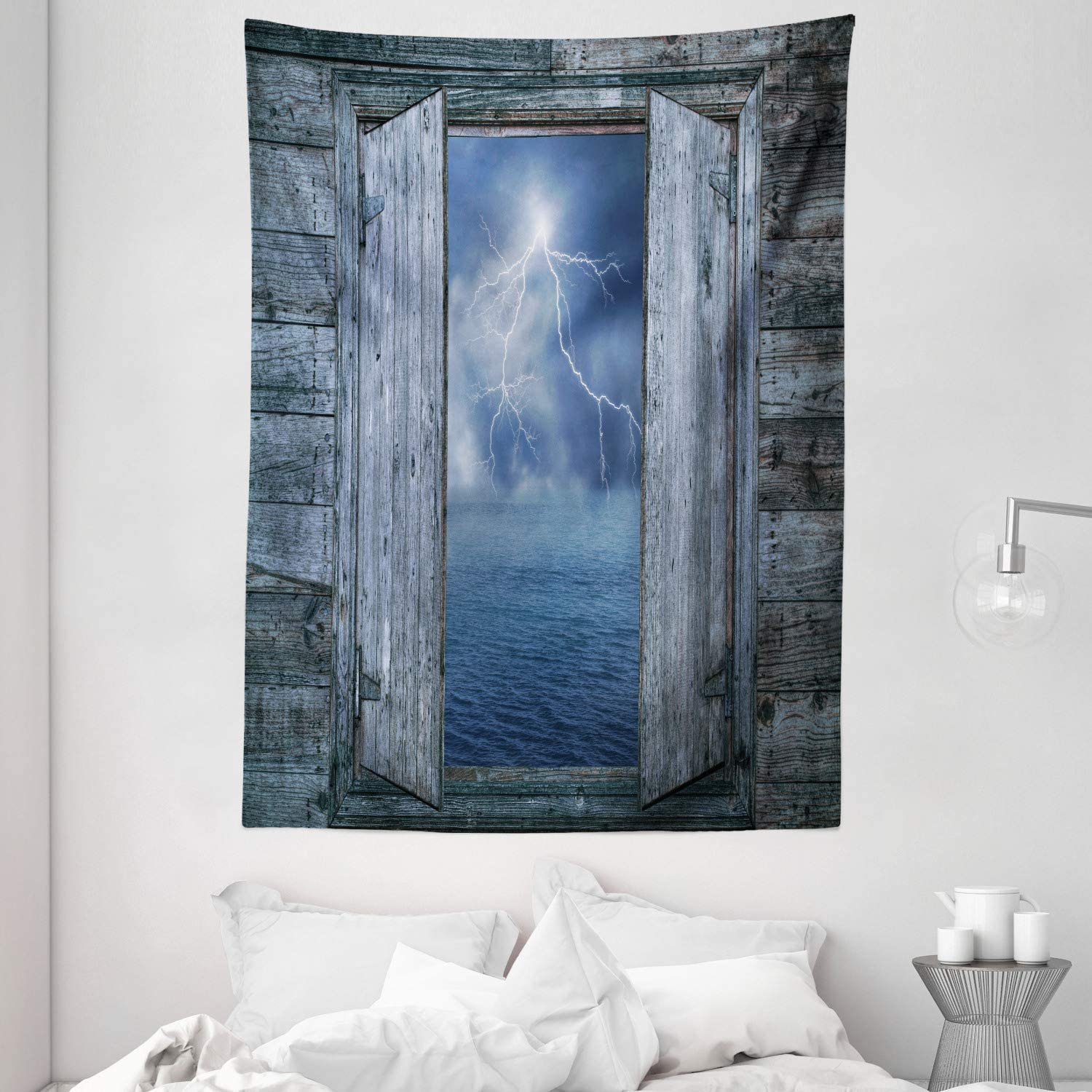 Ambesonne Nature Tapestry, Thunder Bolt at Night from Window in a Seaside House Forces of Nature Theme Print, Wall Hanging for Bedroom Living Room Dorm, 60
