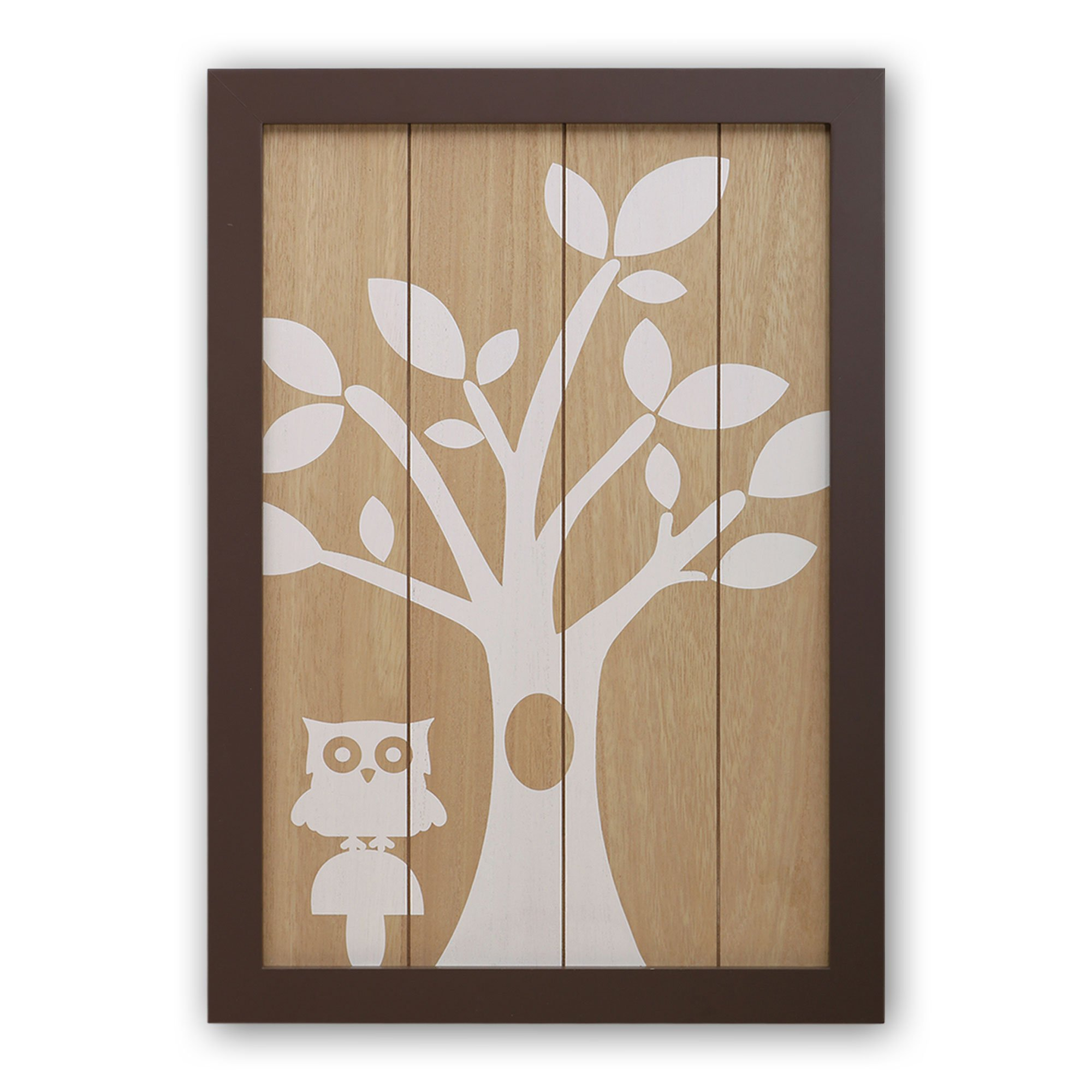 Framed Woodland Wall Art - 14.5 by 20.5 Inches - Tree Owl Silhouette