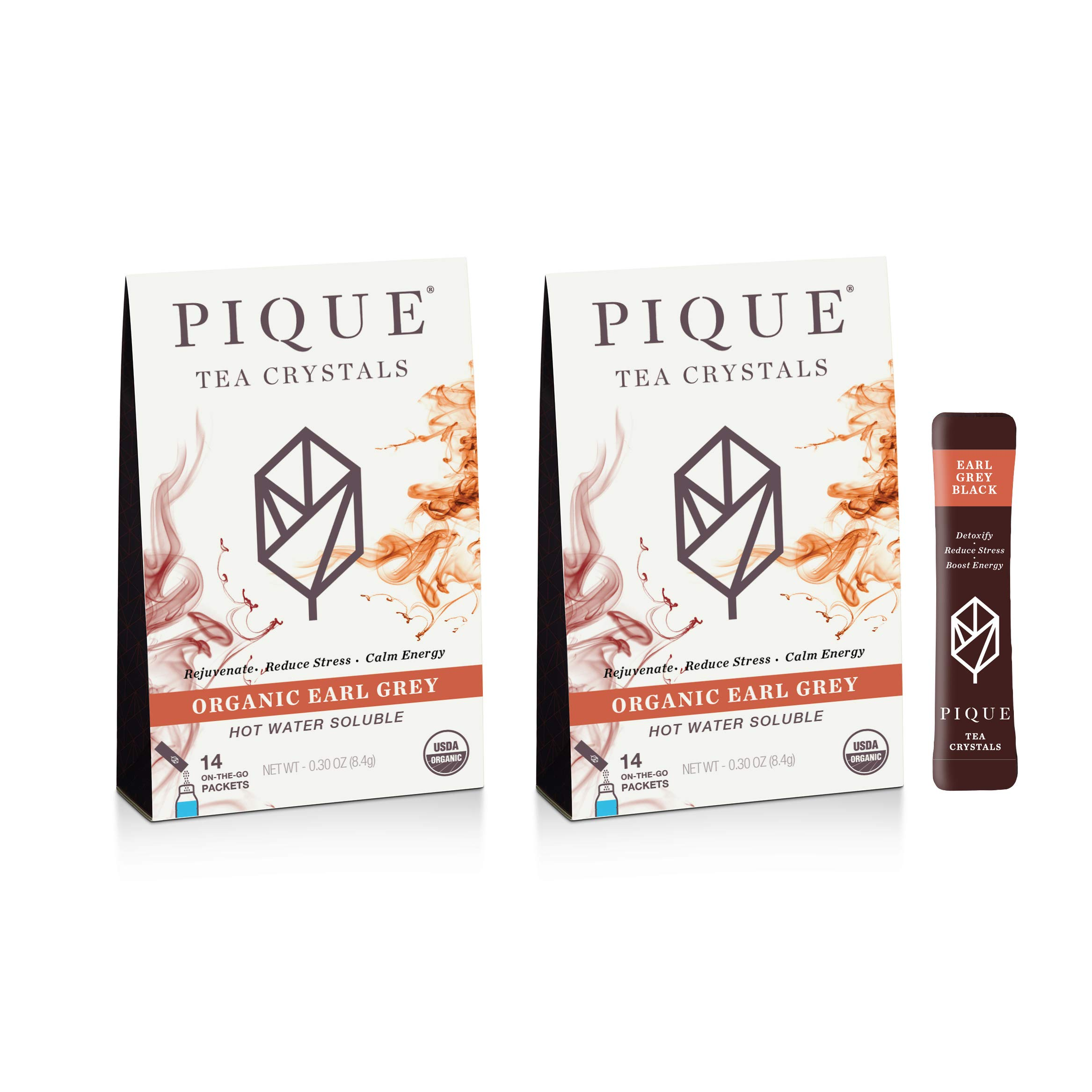 Pique Organic Earl Gray Black Tea Crystals, Antioxidants, Energy, Gut Health, 28 Single Serve Sticks (Pack of 2)