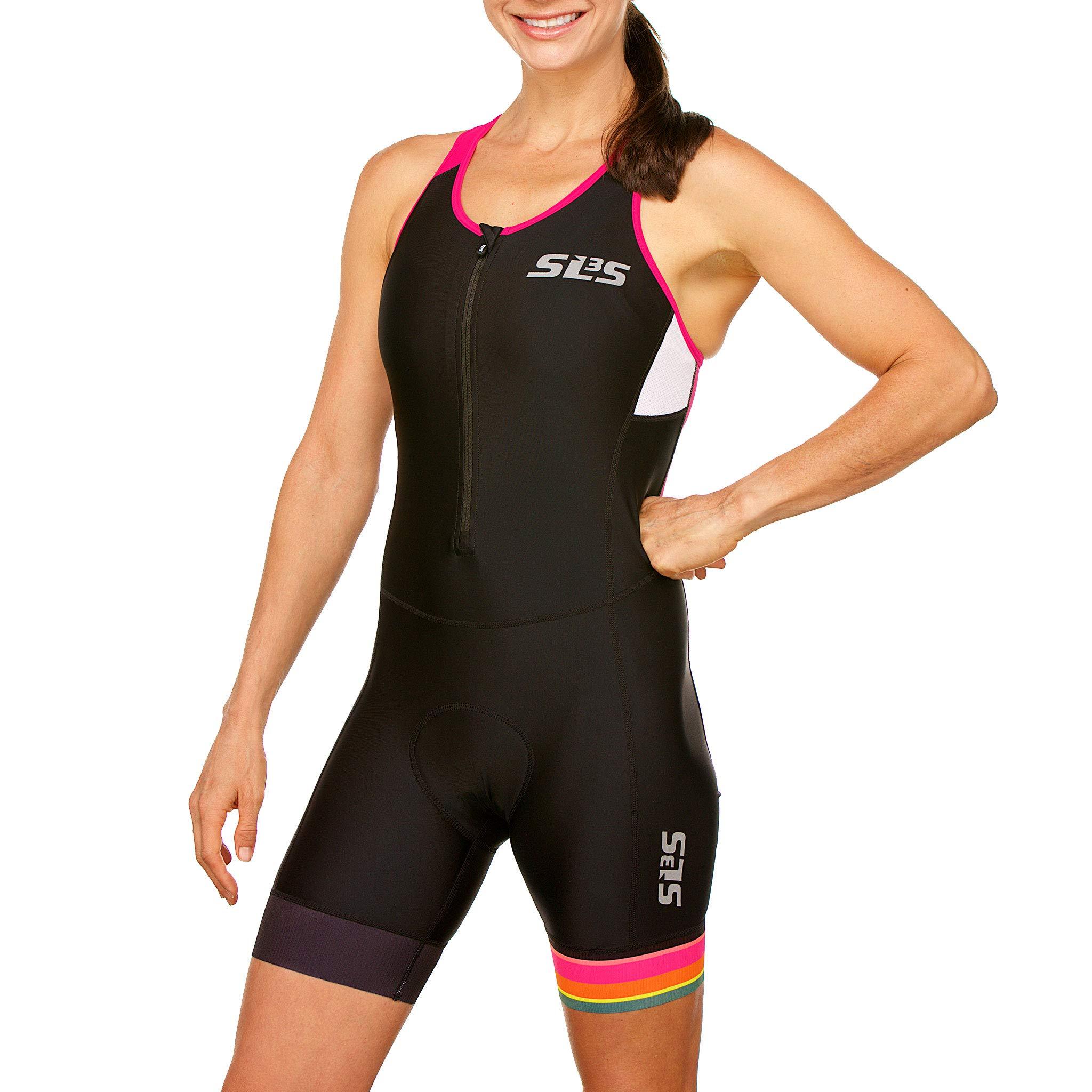 SLS3 Women`s Triathlon Tri Race Suit FRT | Womens Trisuit | Back Pocket Triathlon Suits | Anti-Friction Seams | German Designed (Black/Bright Rose, S)