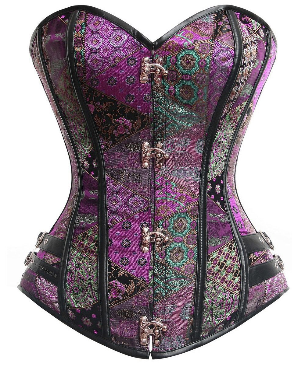 Charmian Women's Steampunk Gothic Brocade Steel Boned Bustier Corset with Buckle 3