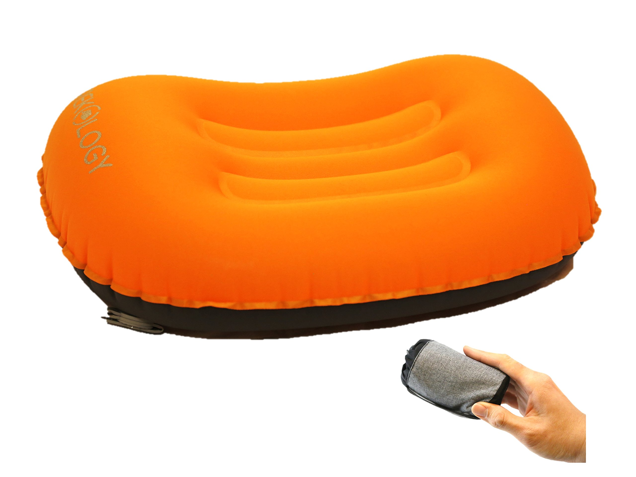 Trekology Ultralight Inflating Travel/Camping Pillows - Compressible, Compact, Inflatable, Comfortable, Ergonomic Pillow for Neck & Lumbar Support While Camp, Backpacking (Orange.)