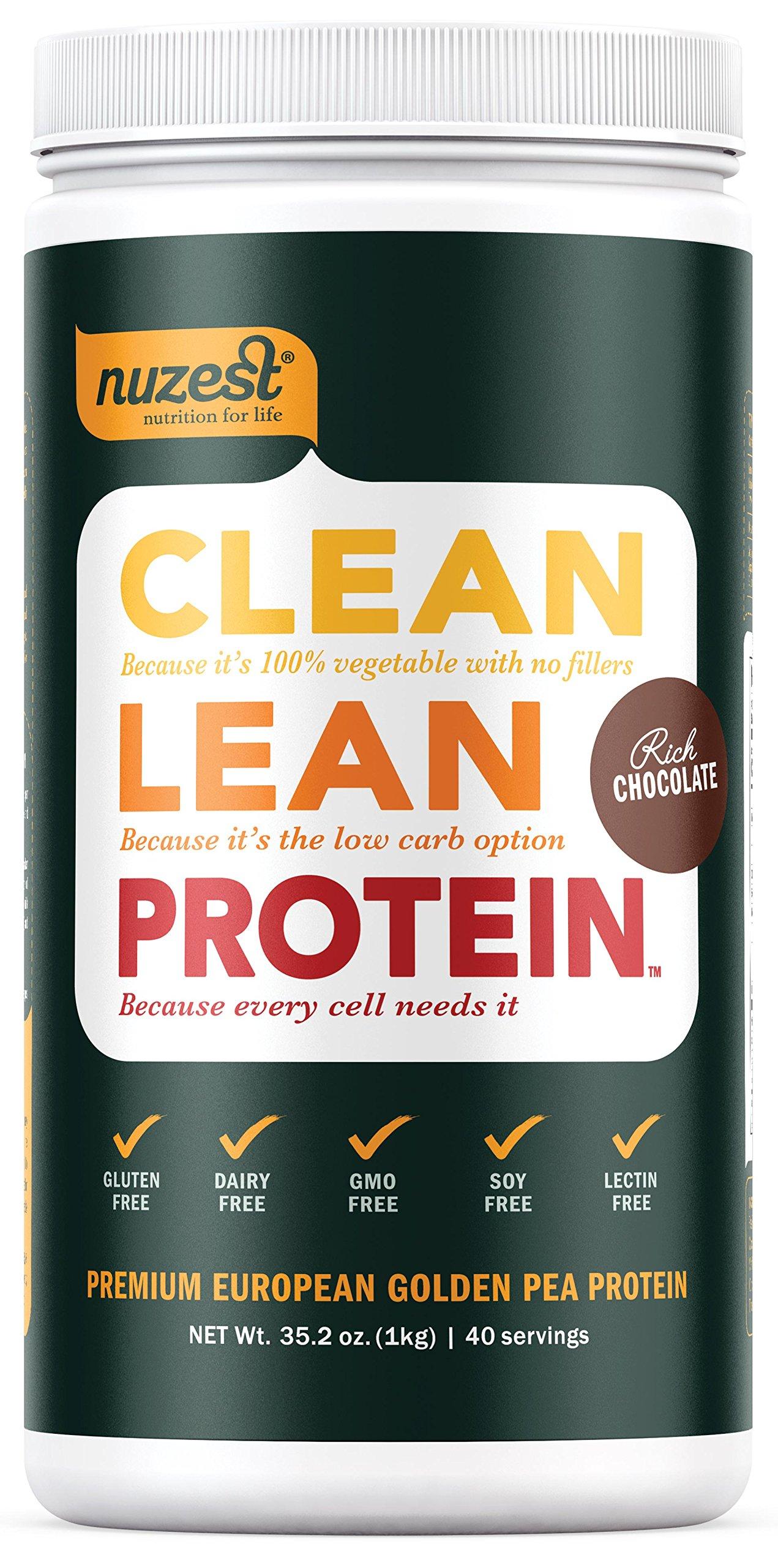 Nuzest Clean Lean Protein - Premium Vegan Protein Powder, Plant Protein Powder, European Golden Pea Protein, Dairy Free, Gluten Free, GMO Free, Naturally Sweetened, Rich Chocolate, 40 Servings, 2.2 lb
