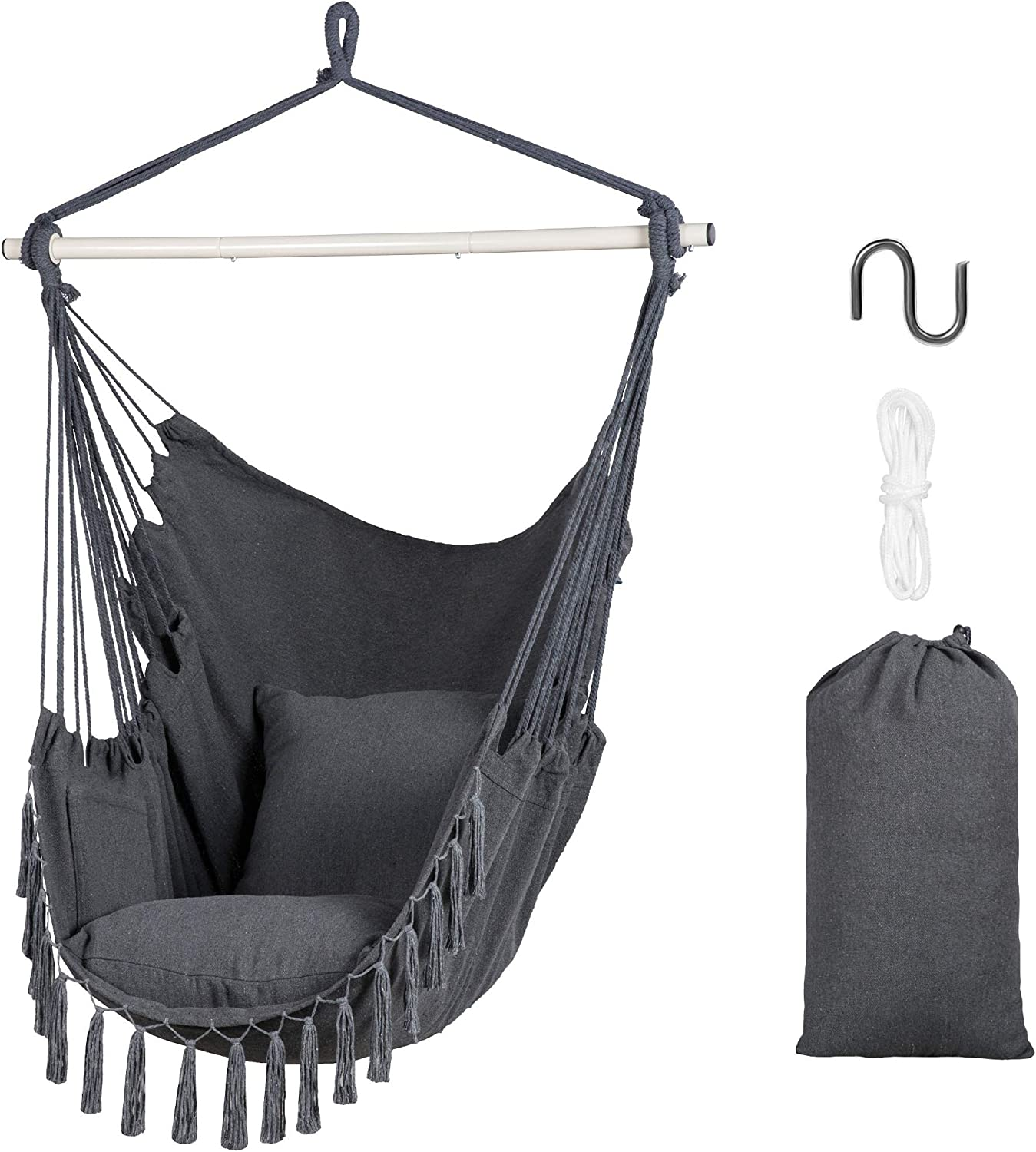 SUNCREAT Hammock Chairs Hammock Chair Swing with Steel Support Bar, Side Pocket, Large Swing Chair for Bedroom, Patio, Garden, Grey
