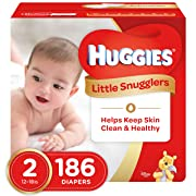 HUGGIES Little Snugglers Baby Diapers, Size 2, for 12-18 lbs, One Month Supply (186 Count), Packaging May Vary