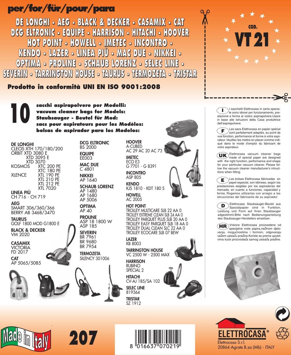 Elettrocasa RW 7 Bolsa para el polvo - Accesorio para aspiradora ...