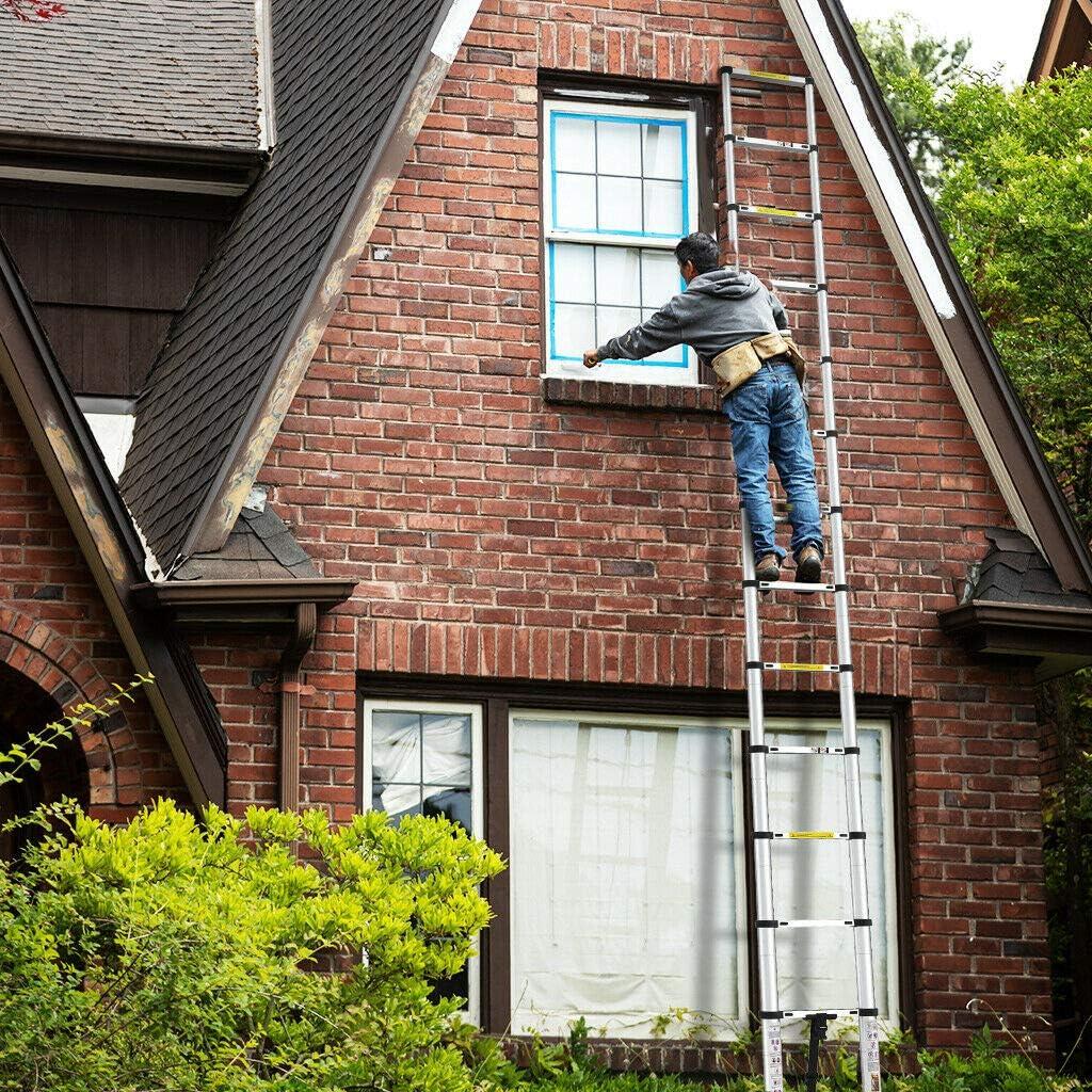 330lb Multibao Telescopic Ladder 16.4ft 5M Aluminium Loft Ladders Collapsible Ladder Extendable Multi Pursose DIY Tools Portable Max Load 150kg 14 Steps