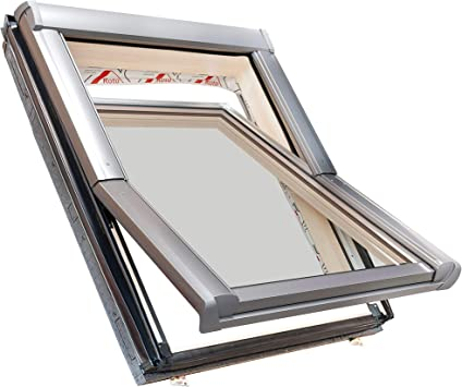 114x140 Roto Dachfenster aus Holz mit Eindeckrahmen