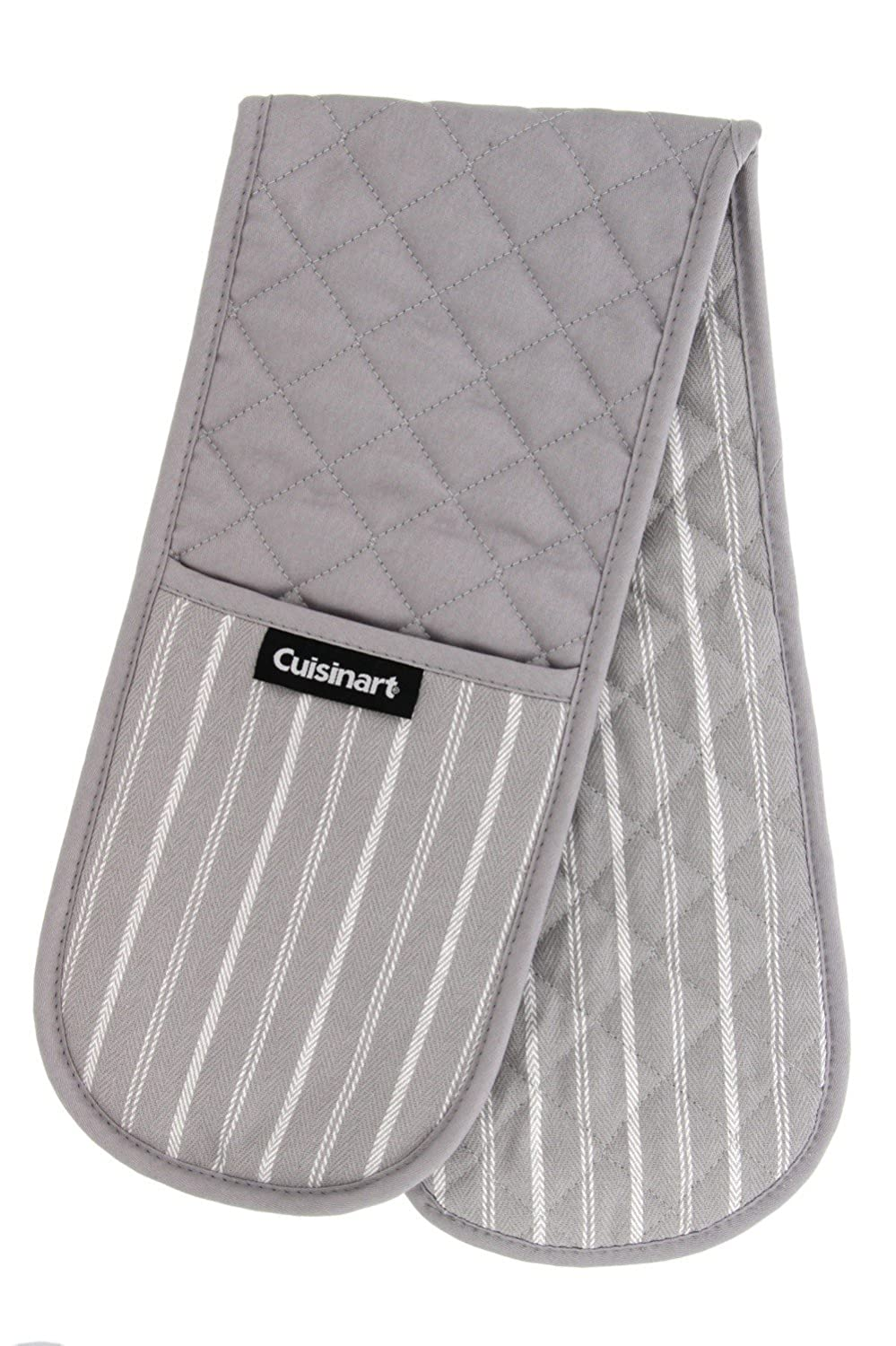 Cuisinart Mini Oven Mitts w/Neoprene for Easy Gripping, Twill Stripe Kitchen Accessory, Heat Resistant up to 500 Degrees F, 5.5 x 7, Set of 2 - Jet Black 5.5 x 7