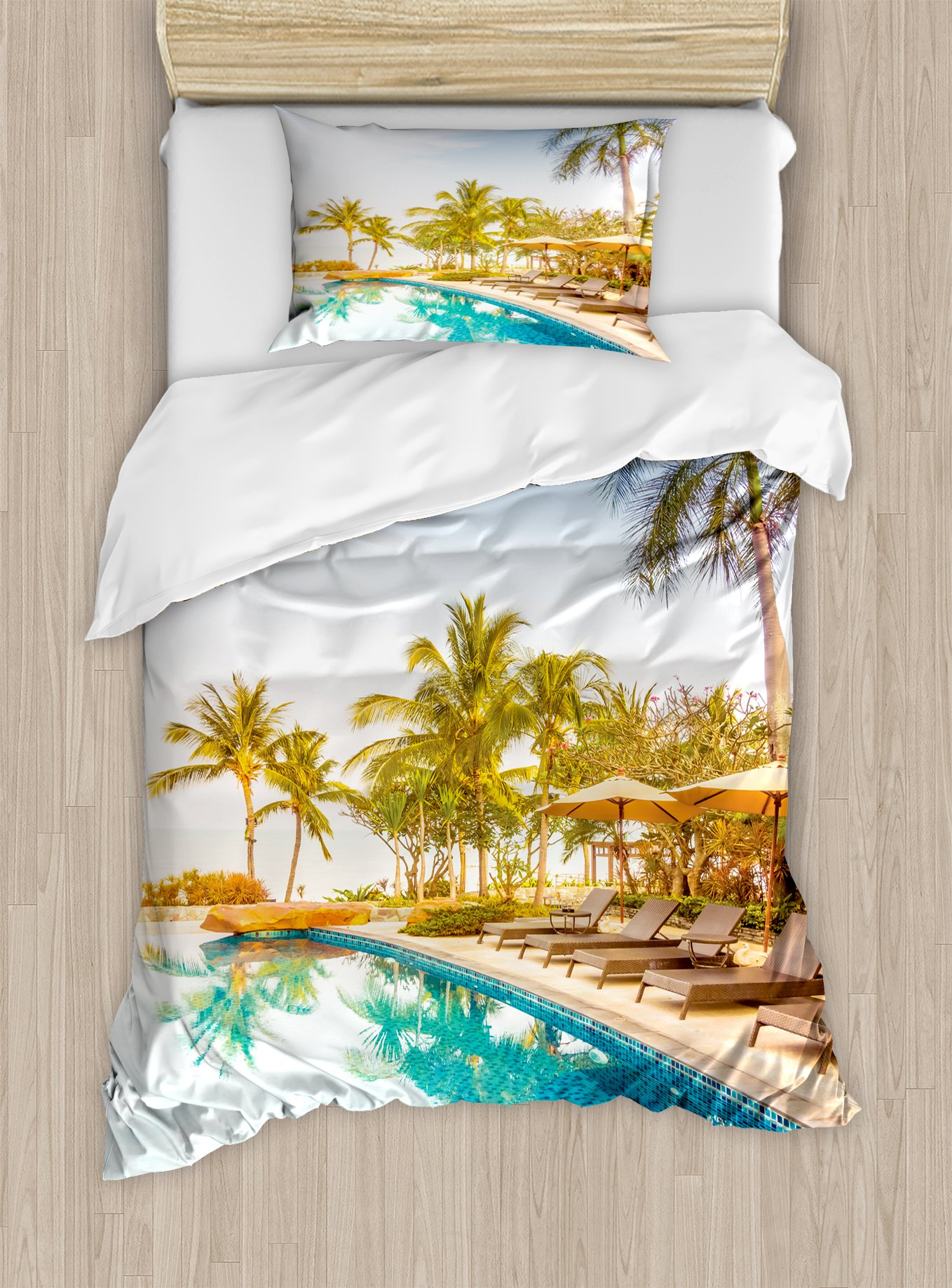 Ambesonne Landscape Duvet Cover Set Twin Size, Aerial View of A Pool in A Health Resort Spa Hotel with Exotic Sports Modern Photo, Decorative 2 Piece Bedding Set with 1 Pillow Sham, Multi