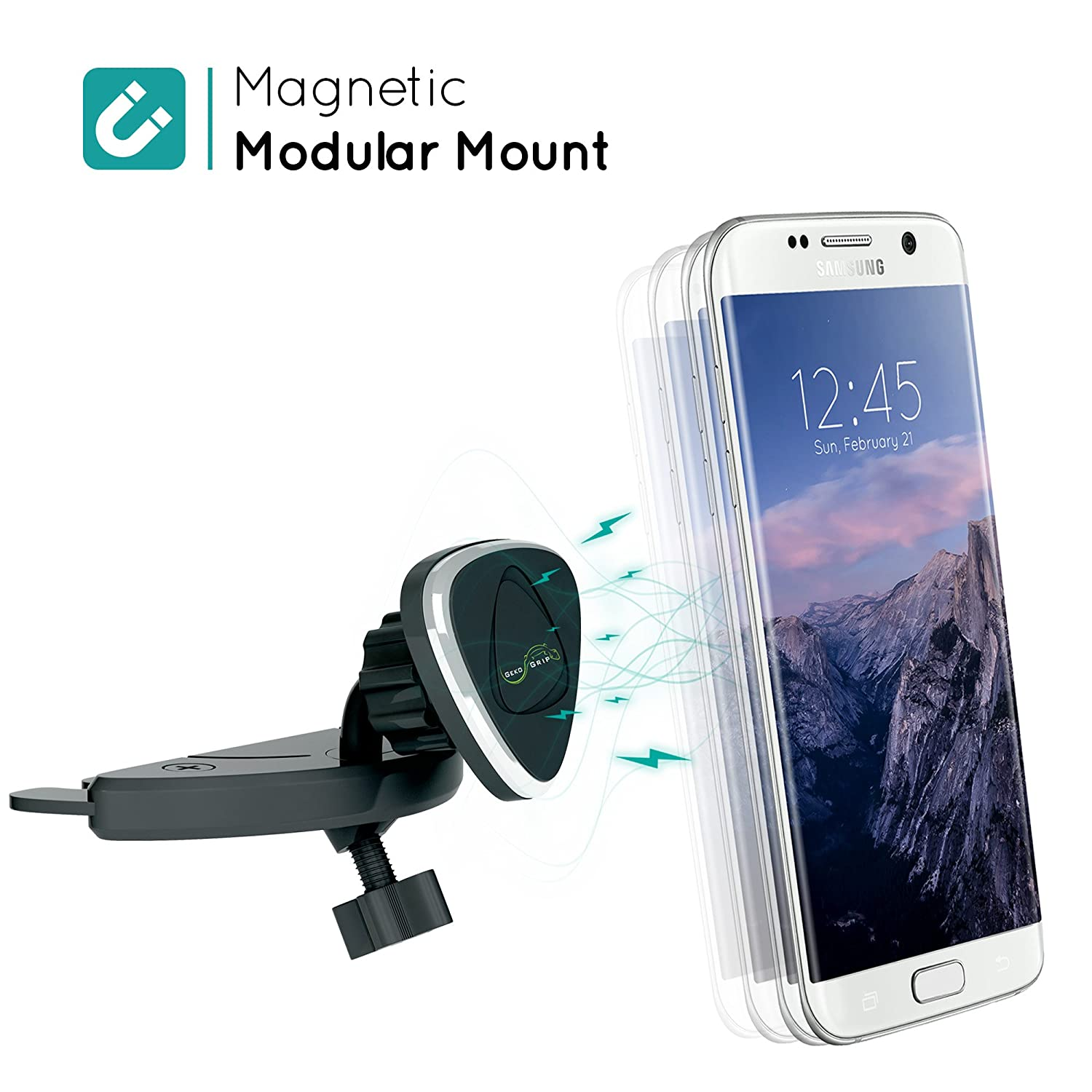 GekoGrip Modular Magnetic Car Mount | Universal Cradle-less CD Slot Holder - Compatible with iPhone and Android Smartphones and Mini Tablets Mobei vCD-MM1