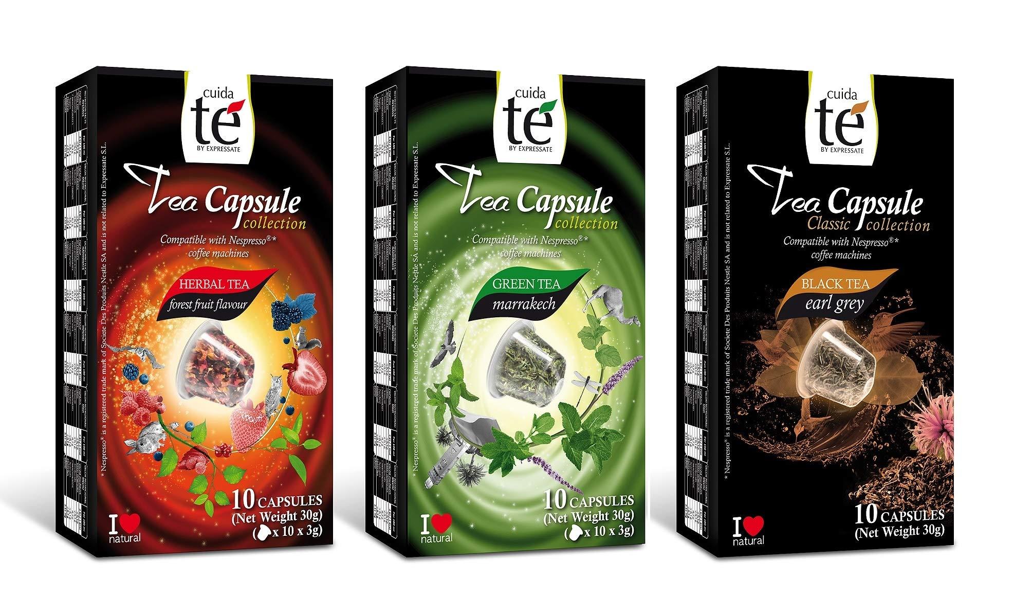 30 Nespresso Compatible Pods - Origen Tea Variety Pack: Earl Gray Tea, Marrakech Green Tea, Forest Fruit Tea (1 box each / 10 pods per box)