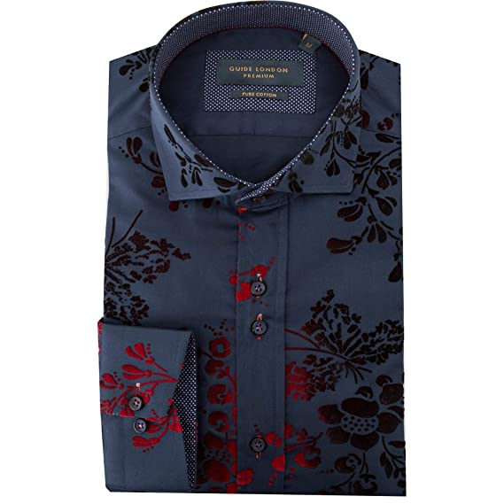 90120f3e Guide London Red and Navy Floral Velvet Flock Mens Shirt LS74842:  Amazon.co.uk: Clothing