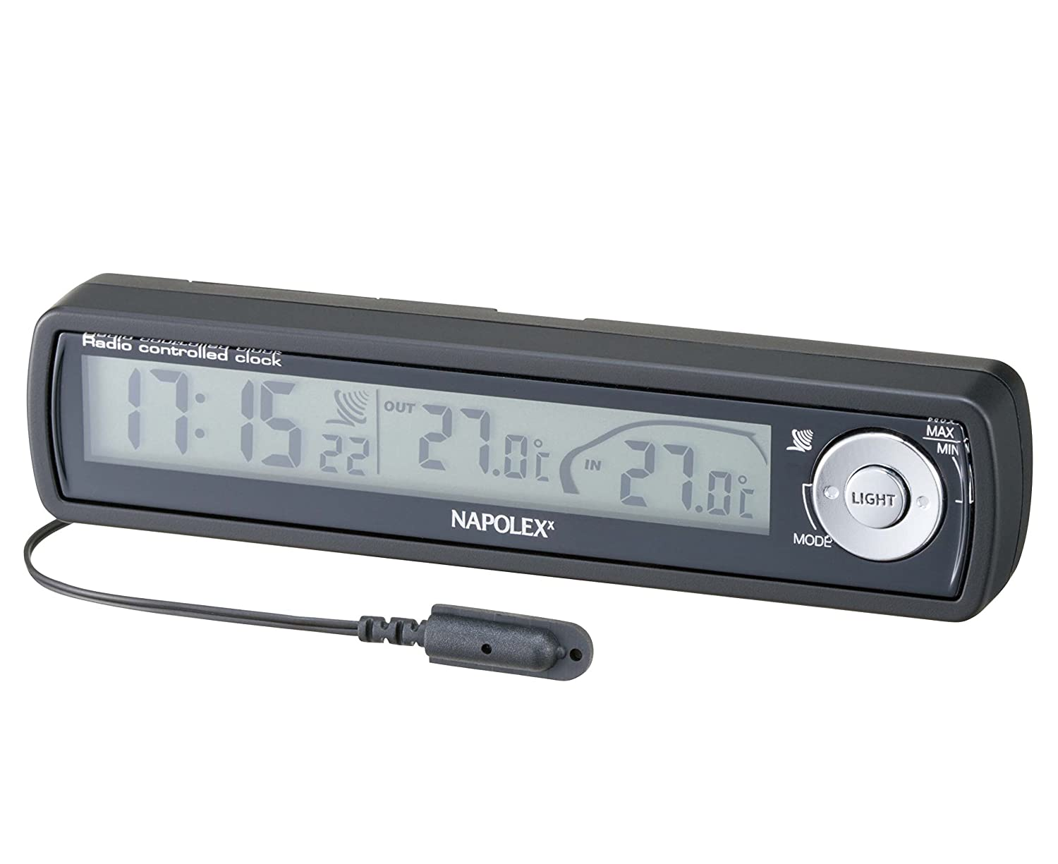 Napolex Fizz-855 Car Dash Mounts Digital Radio Clock with Inside and Outside Thermometer