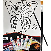 Asian Hobby Crafts Canvas Painting Kit with 5 Acrylic Colors, 2 Paint Brushes, 1 Palette (Tinker Bell)