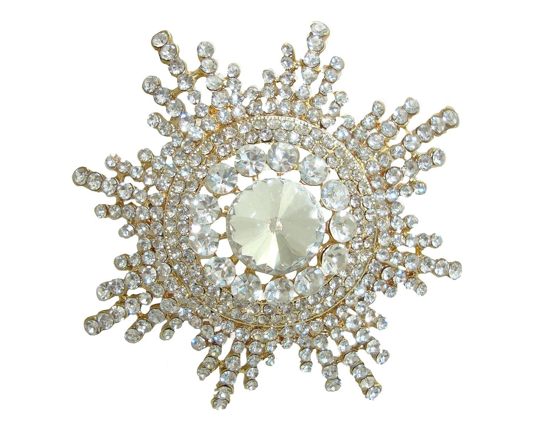 Elegant Rhinestone Snowflake Pin
