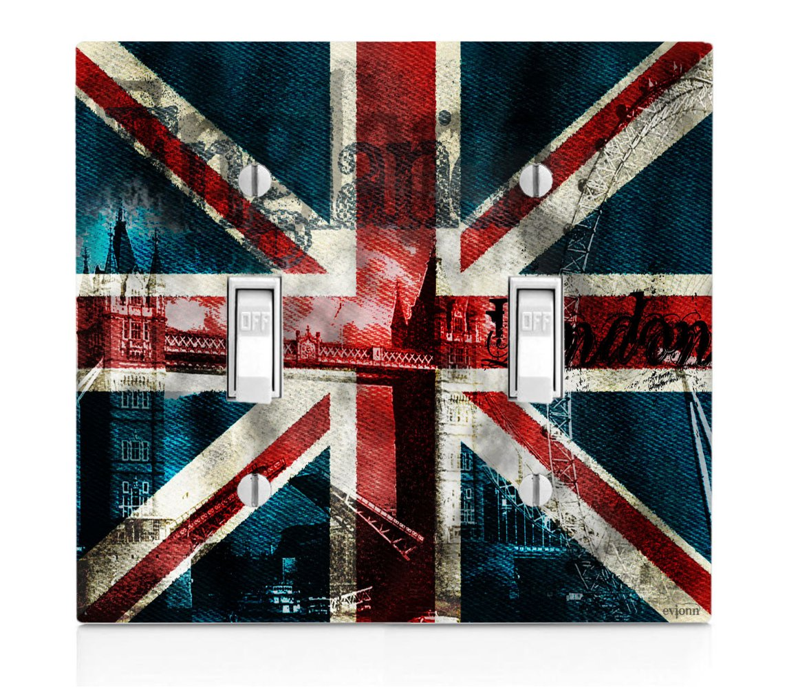 Trendy Accessories Vintage British Flag United Kingdom UK Double Light Switch Plate Cover