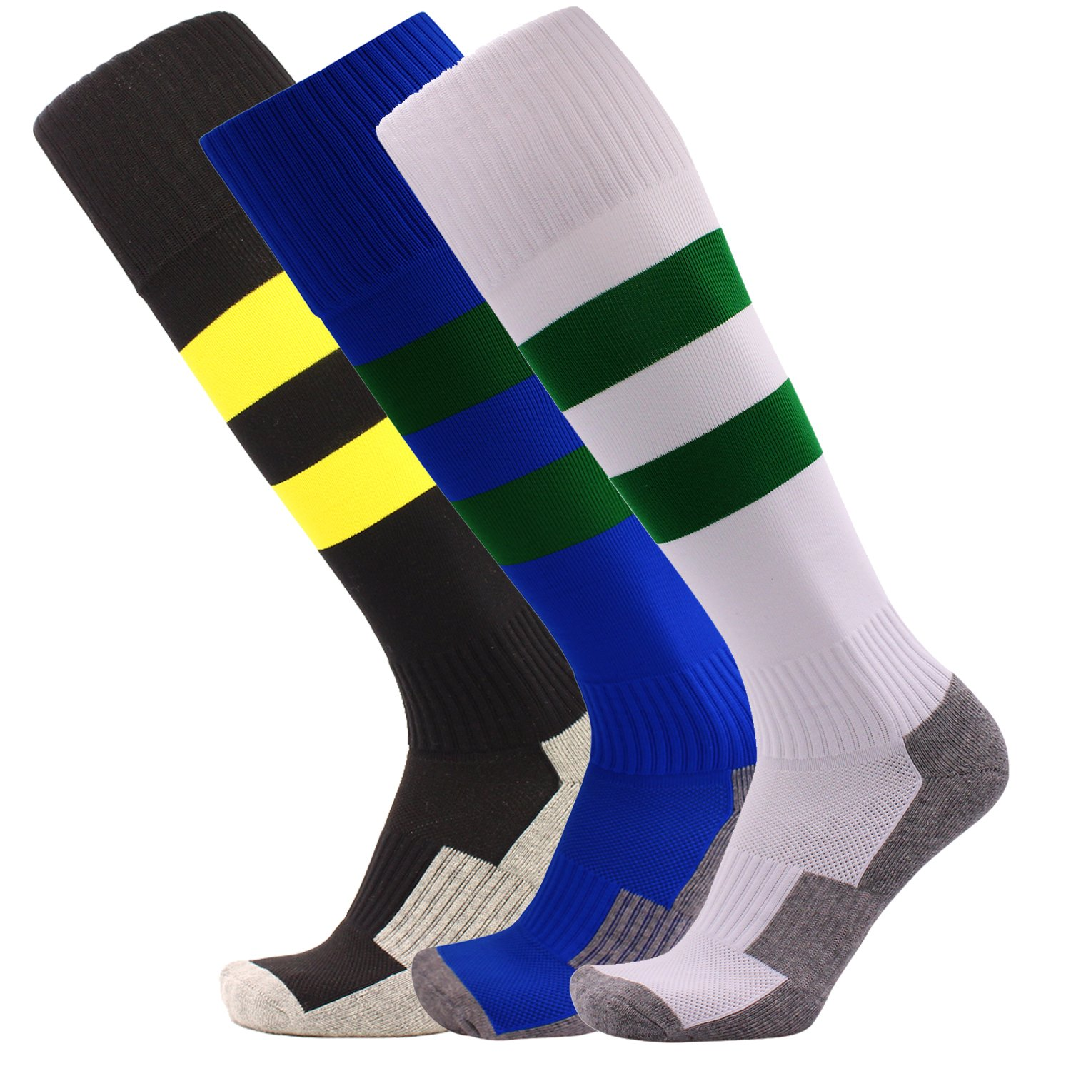 Big Kid Soccer Socks 3 Pack Stripe Compression Football Socks Youth (Black + White + Royal Blue) by KALAKIDS