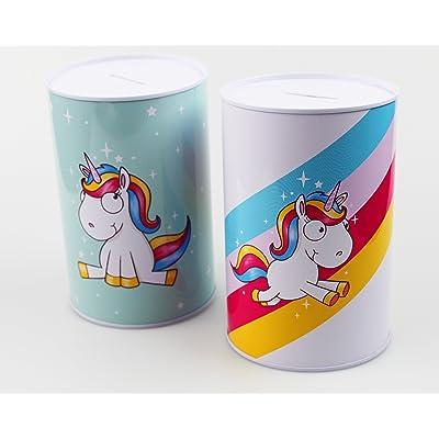 2 x Comic - Unicornio - Hucha de Metal de Llamas Unicornio de diseño, Hucha Diámetro Aprox. Diámetro 10 Cm, 15,4 cm de Altura - Un Diversión para Cada día - Regalo para cumpleaños y como Regalo: Hogar