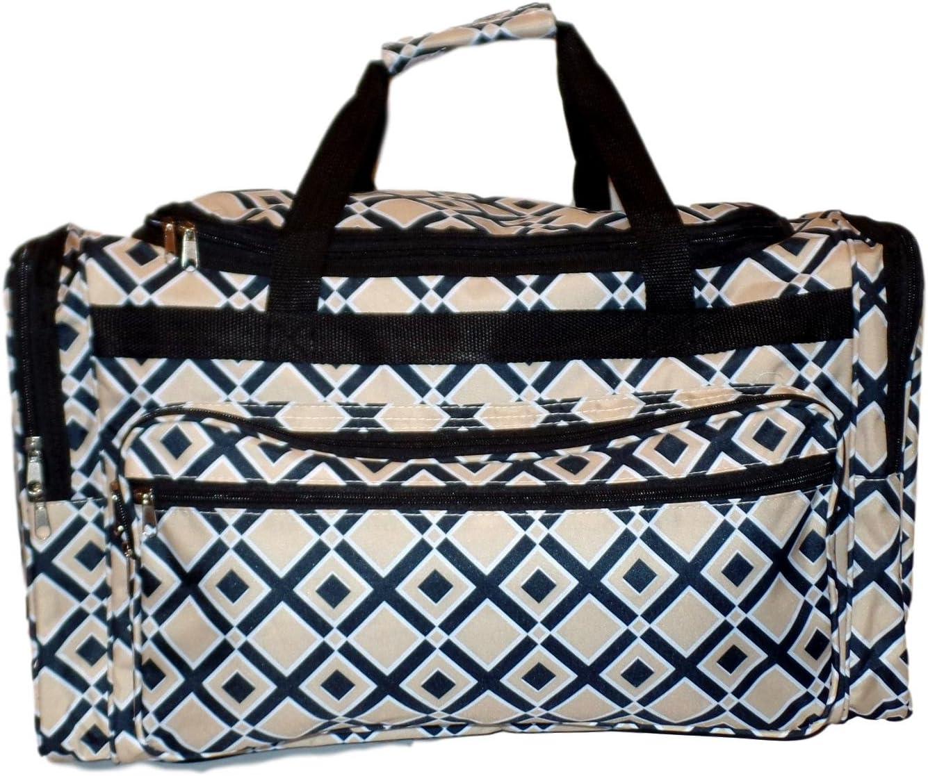 High Fashion Print Gym Dance Cheer Travel Duffle Bag 22 BLANK-Diamond Blue - Navy