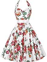 GRACE KARIN® Women's Retro 50s Halterneck Rockabilly Dress Floral Pattern Swing Skater Dress 20Colors