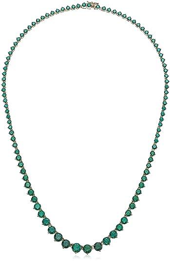 72fcab2ba95 Women s Yellow Gold Plated Sterling Silver Swarovski Zirconia Green Round Shape  Tennis Necklace