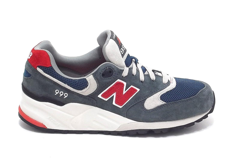 New Balance scarpe uomo, ML 999 AD, sneakers in camoscio e tessuto, colore grigio avion