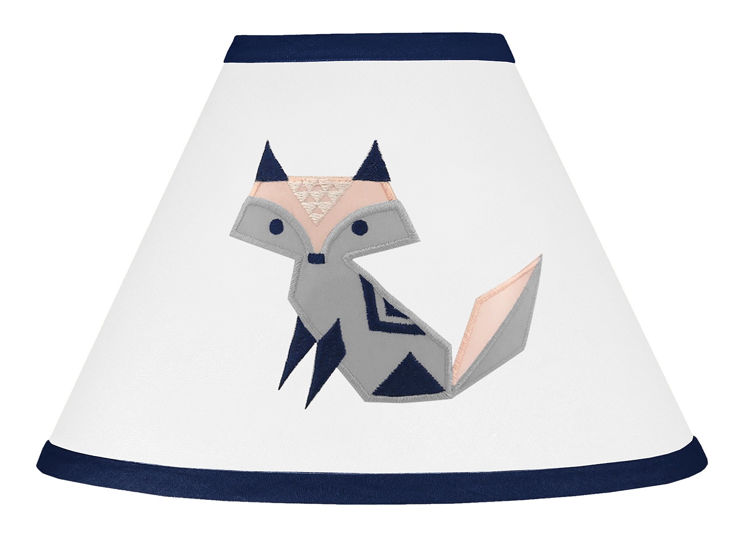 Sweet JoJo Designs Navy Blue, Pink, and Grey Lamp Shade for Woodland Fox Collection by