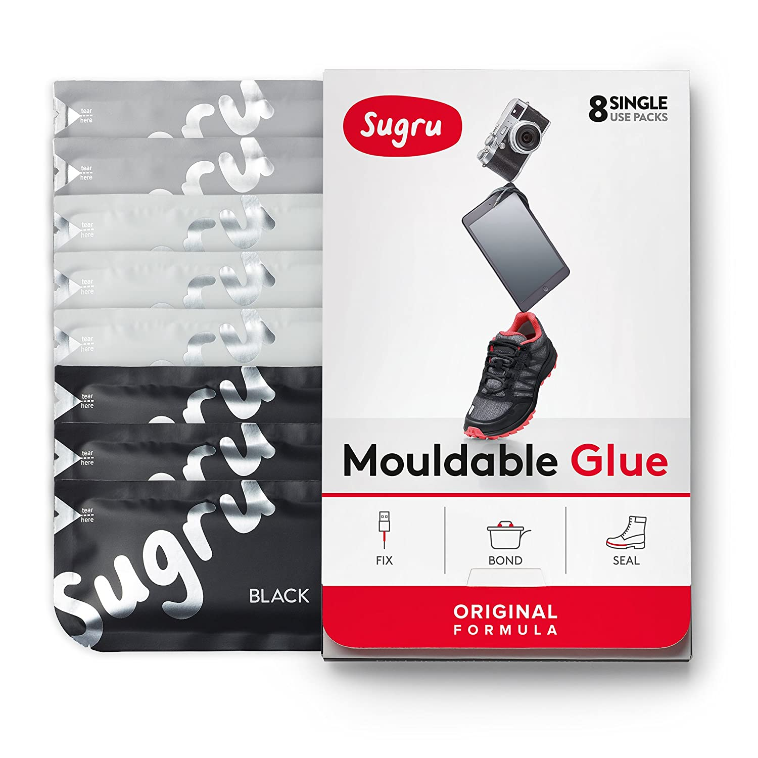 Sugru Moldable Glue - Original Formula - Black, White & Grey 8-Pack