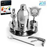 Barman Premium Cocktail Bar Set : 8 Piece Stainless Steel Professional Martini Cocktail Shaker, Jigger, Strainer, Tongs, Openers, Holder and Bonus 100+ Cocktail Recipes (ebook)+Stirring Spoon
