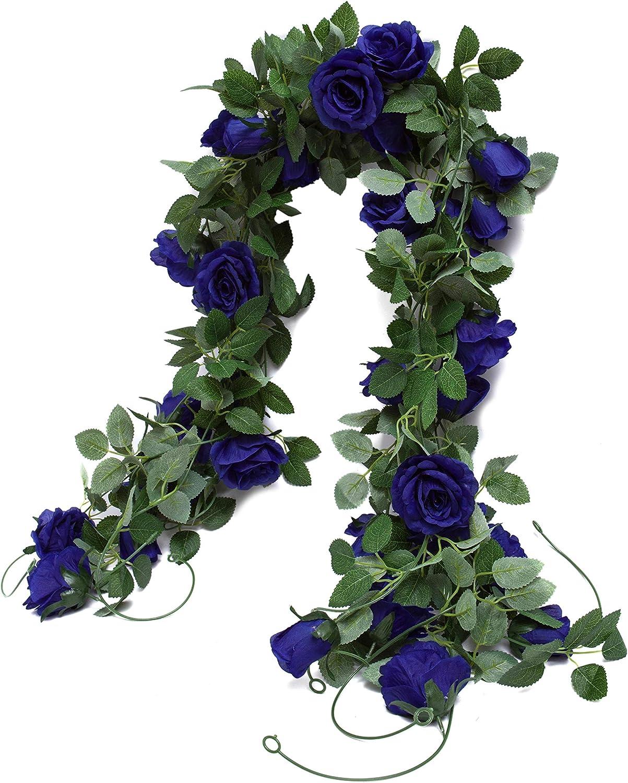 Huata 3PCS 6.56Ft Artificial Rose Flower Silk Vine Hanging Wedding Decor Garlands Home Outdoor Indoor Decor Flower (Blue)