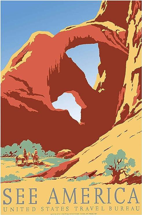 See America United States Travel Bureau Vintage Travel Poster 24x36