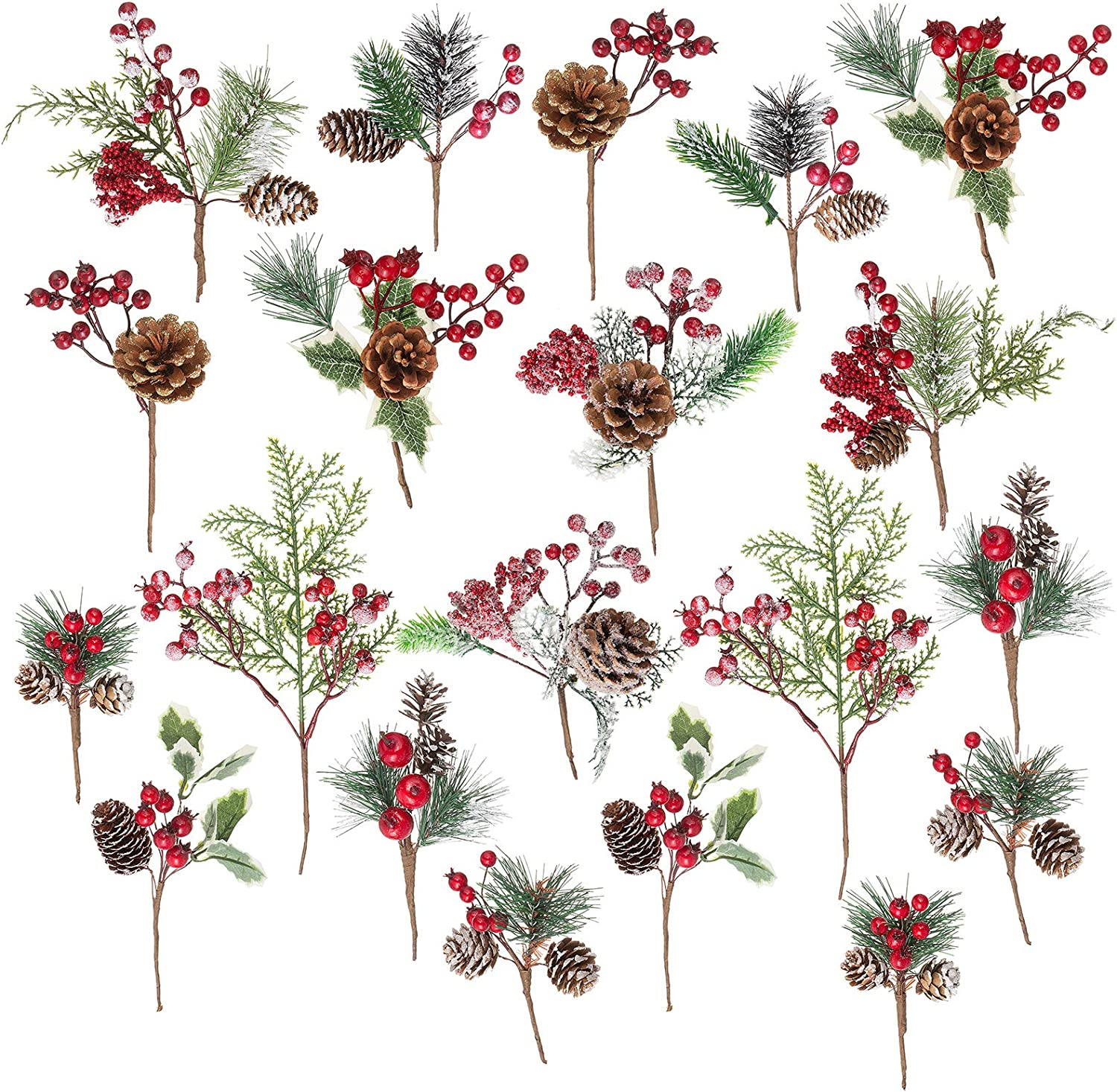 Crafare 20 Pack Artificial Christmas Picks Assorted Red Berry Picks Stems Faux Pine Picks Spray with Pinecones Apples Holly Leaves for Christmas Floral Arrangement Wreath Winter Holiday Season Déco