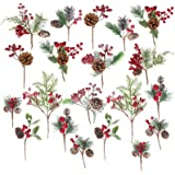 20 Pack Artificial Christmas Picks Assorted Red Berry Picks Stems Faux Pine Picks Spray with Pinecones Apples Holly Leaves fo