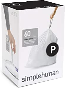 simplehuman Code P Custom Fit Liners, Extra Large, Ultra Strong Trash Bags, 50-60 Liter / 13-16 Gallon, 3 Refill Packs (60 Count)
