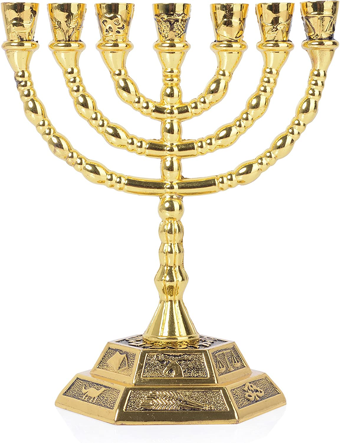 Amazon.com: 12 Tribes of Israel Menorah, Jerusalem Temple 7 Branch Jewish  Candle Holder (8 Inches, Gold): Home & Kitchen