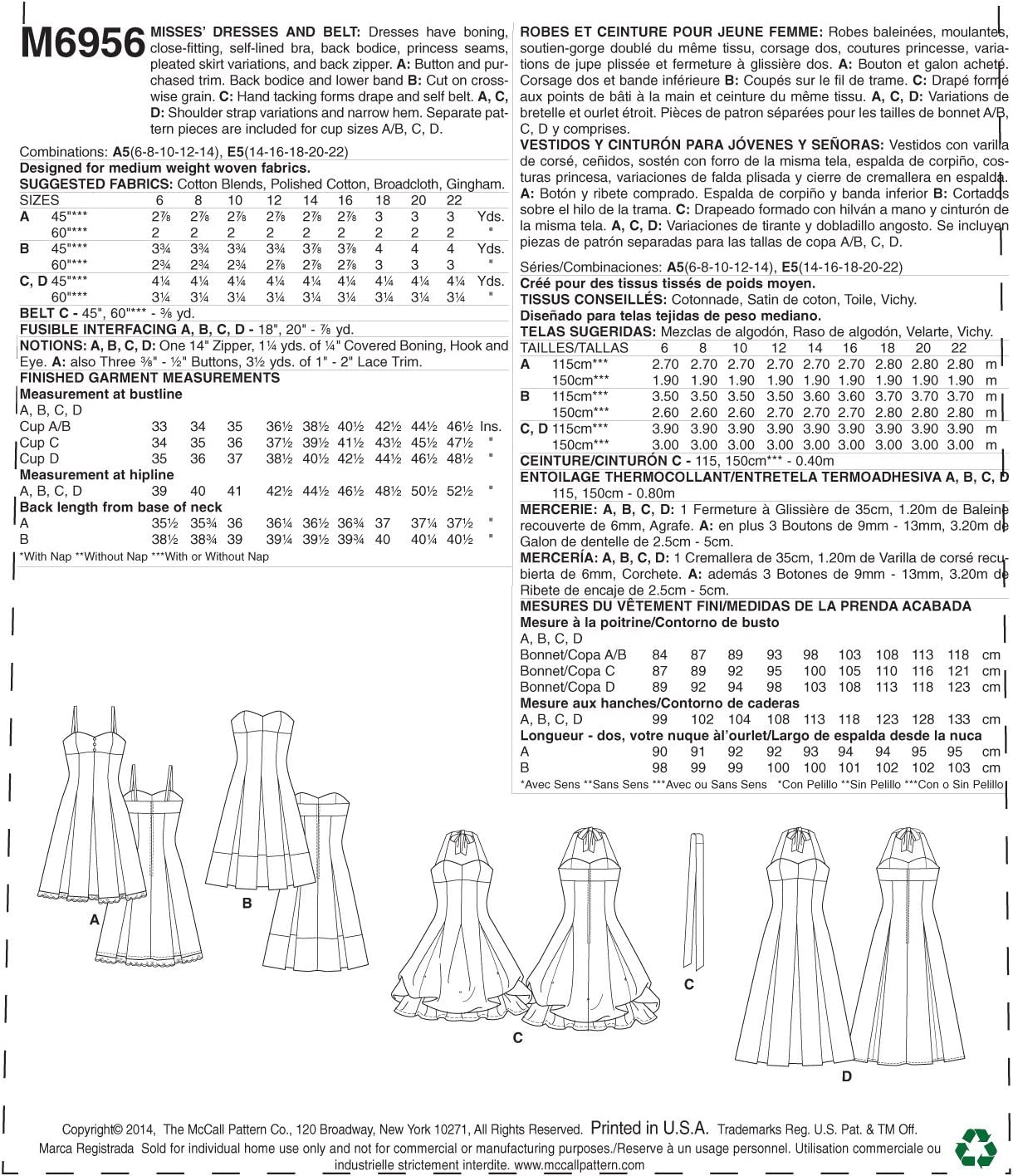 McCall Pattern Company M6956 Misses Dresses and Belt Size A56-8-10-12-14