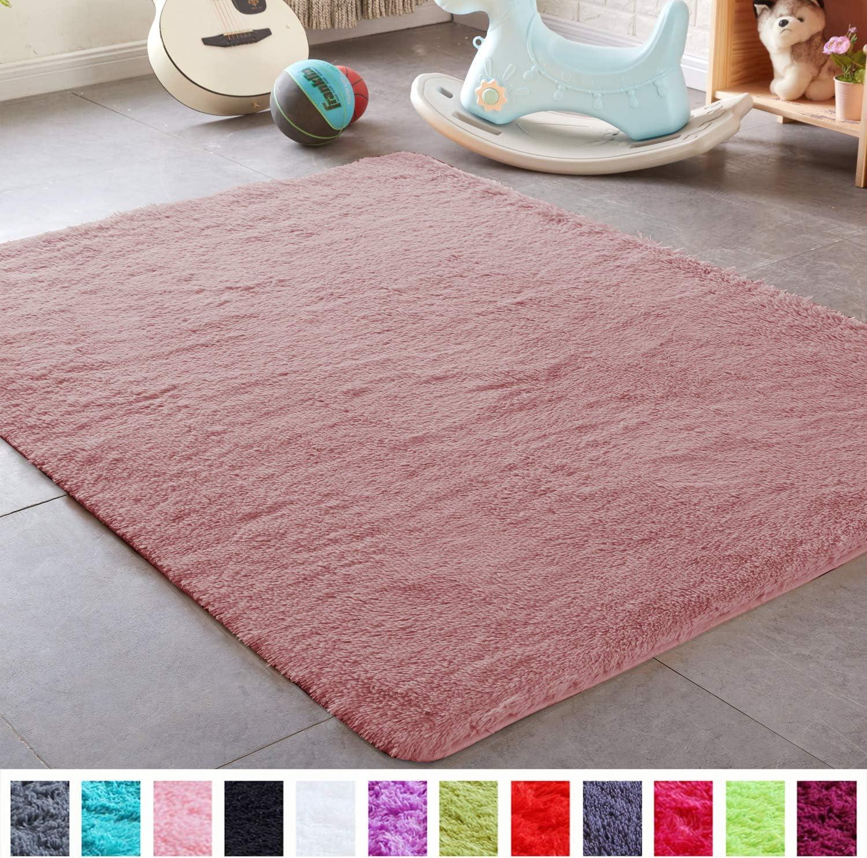 PAGISOFE Shaggy Fluffy Area Rugs Carpets for Baby Nursery Teens Girls Rooms 4x5.3 Feet Plush Fuzzy Shag Rugs for Kids Bedroom Home Room Floor Accent Decor Fur Rug, Blush