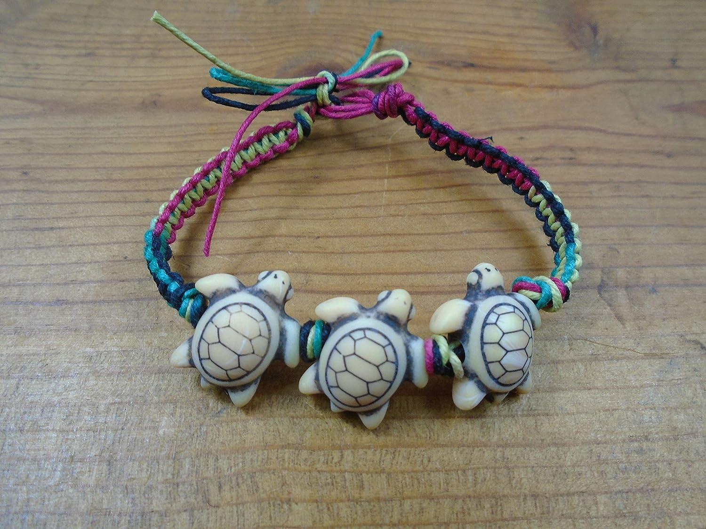 BEACH HEMP JEWELRY Purple Sea Turtle Anklet Bracelet Handmade In USA Adjustable With Wood Beads