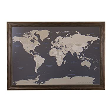 Push Pin Travel Maps Earth Toned World with Solid Wood Brown Frame and Pins 24 x 36